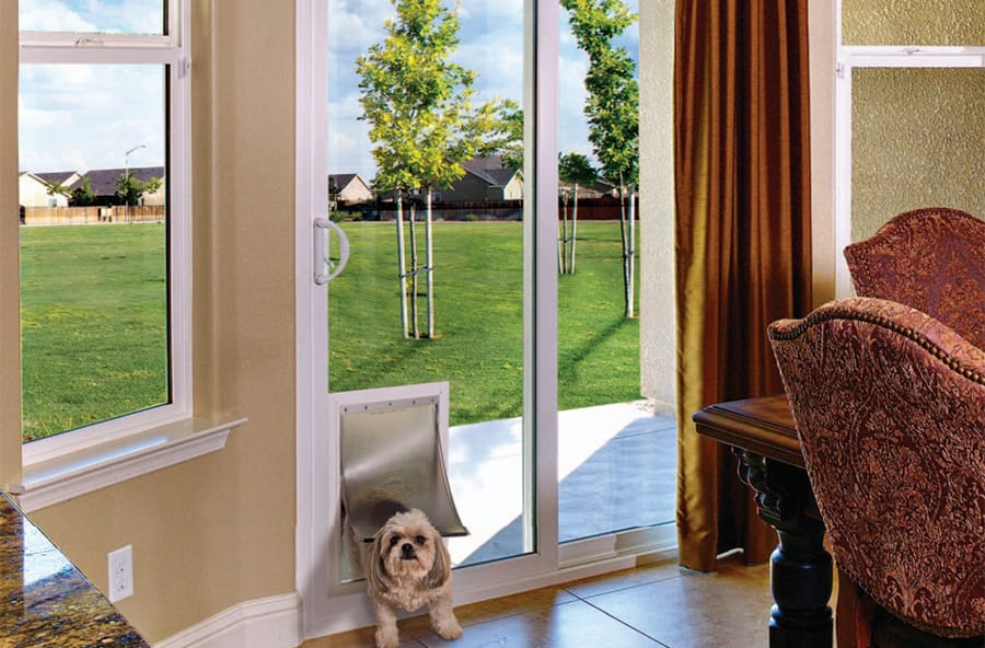 Anlin Sliding Patio Doors with In-Glass Pet Doors Popular with San Diego Homeowners