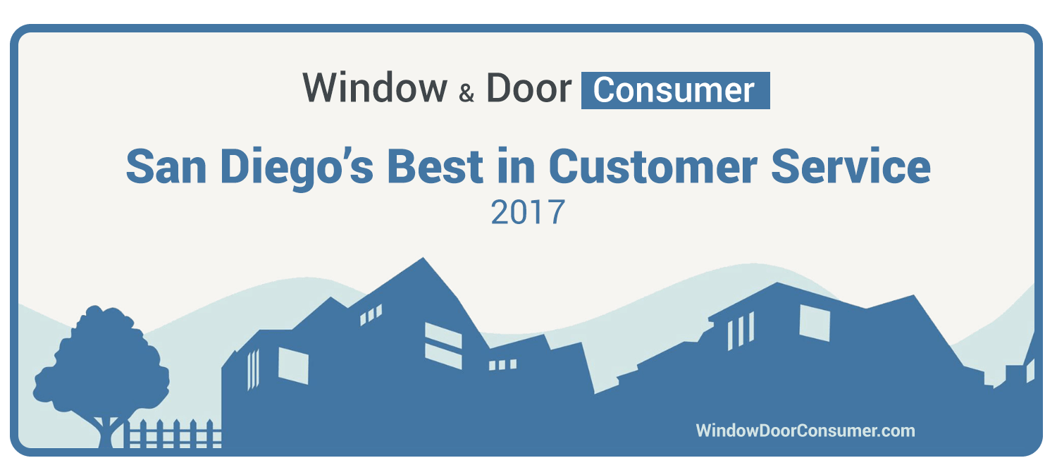 "Window & Door Consumer Awards BM Windows the ""2017 Best in Customer Service"" Award for San Diego Replacement Window Companies"